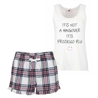 It's Not A Hangover It's Prosecco Flu Pink Tartan Pyjamas