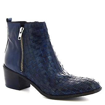 Leonardo chaussures femmes talons la main bottines en cuir de veau tissé bleu