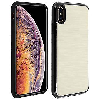 iPhone XS Max skyddande mjukt silikon fodral aluminium förstärkta kanter, guld
