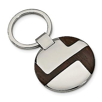 Men's Stainless Steel Polished Wood Inlay Key Chain - Engravable Gift Item