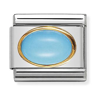 Nomination Classic Oval Stone Steel, Turquoise and 18k Gold Link Charm 030502/06
