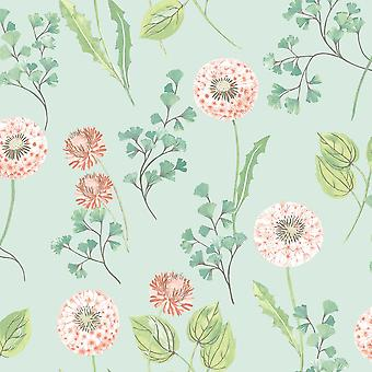 Dandelions Floral Wallpaper Duck Egg Coral Green Paste Wall Holden Cassara