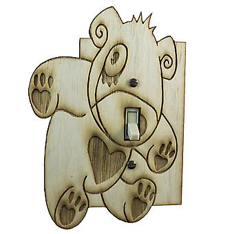 Teddy bear switch plate - raw wood - 4.6
