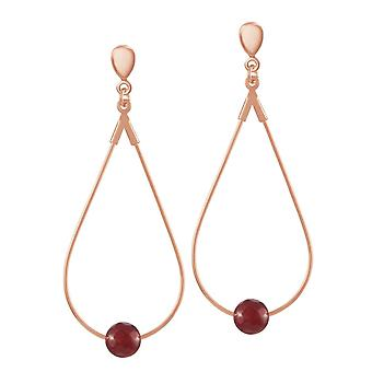 Eternal Collection Eclectic Ruby Red Agate Rose Gold Tone Drop Teardrop Hoop Clip On Earrings