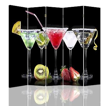 Room Divider, 5 Panels, Double-Sided, 360 ° Rotatable, Canvas, Drinks And Fruits 2