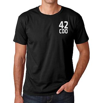 42 Commando Unit Royal Marines Text Embroidered Logo - Official Cotton T Shirt