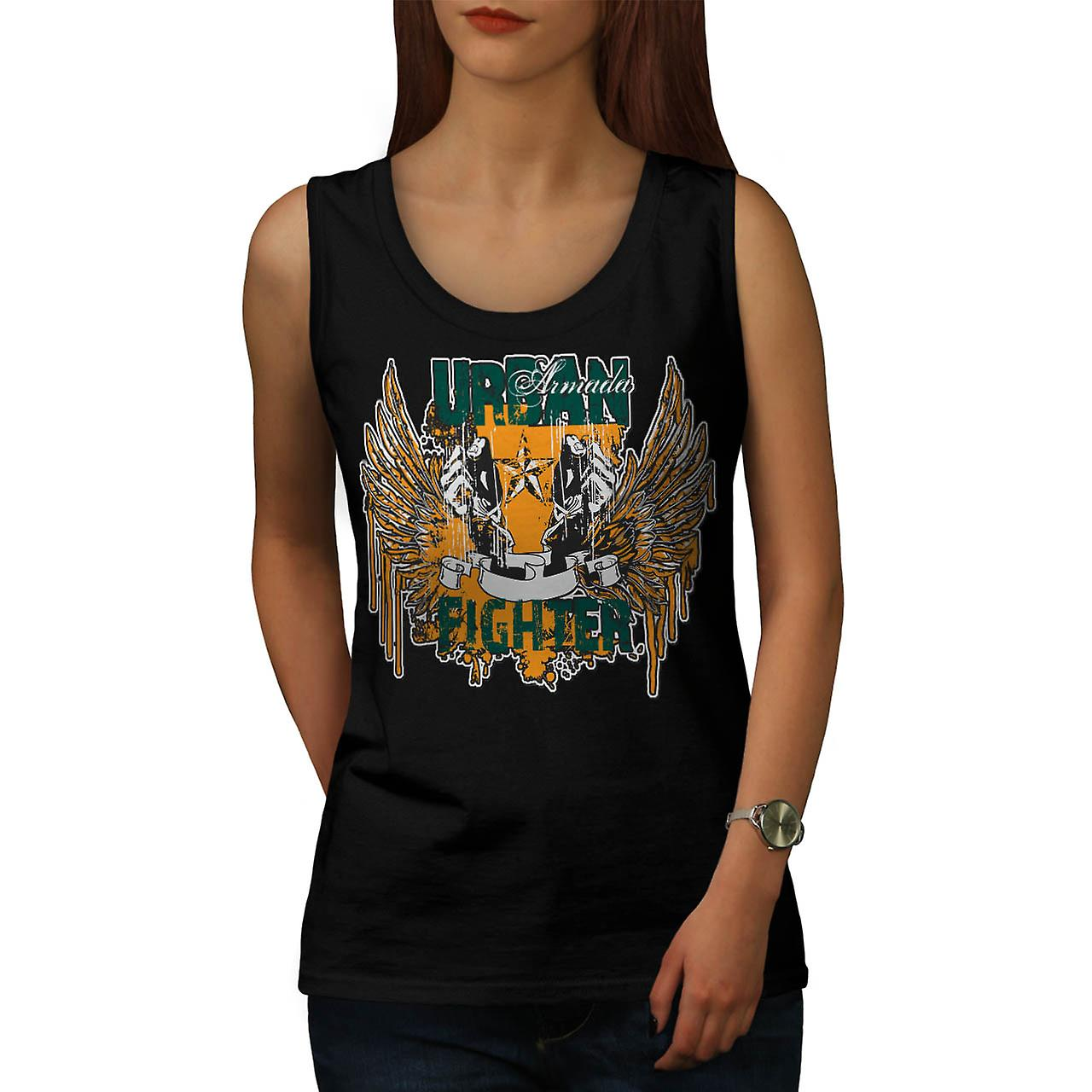 Urban Fighter Gangster Women Black Tank Top | Wellcoda