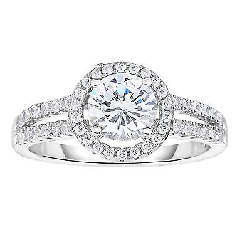 Sterling Silver With Rhodium Finish 1.9mm Shiny Round Top - Size 6 Ring With White Cubic Zirconia