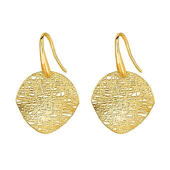 14k Gelb Gold 17x17mm gebogen baumeln Ohrringe - 2,2 Gramm