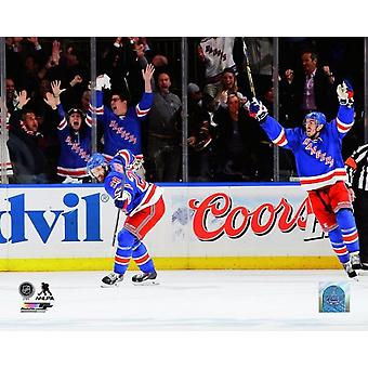 Dominic Moore celebrates his goal in the second period of Game Six of the Eastern Conference Final against the Montreal Canadiens during the 2014 NHL Stanley Cup Playoffs at Madison Square Garden on M