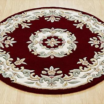 Royal Aubusson Round Rugs In Red Cream