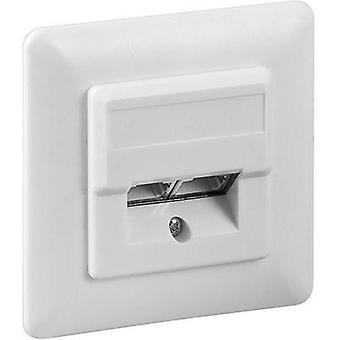 Network outlet Flush mount Insert with main panel and frame CAT 5e 2 ports Goobay White