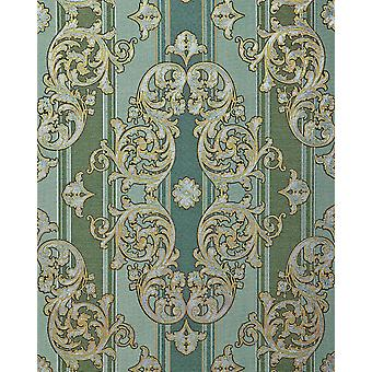 Baroque wallpaper EDEM 580-35 high quality embossed wallpaper in textile design and metallic effect Pine-Green perl-gold silver 5.33 m2