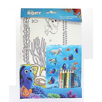 Finding Dory 15 Piece Colour Set with Colouring sheets, Pencils & Stickers