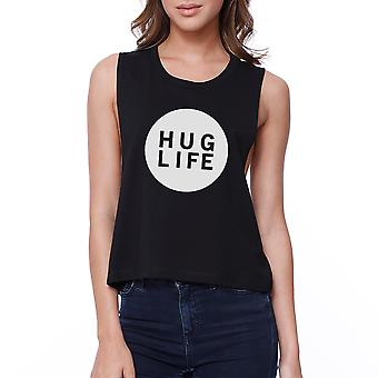 365 Printing Hug Life Women's Black Crop Top Cute Design Love For Life Quote