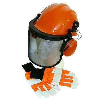 Chainsaw Protective Forestry Safety Helmet, Hard Set & Large Gloves Size 10