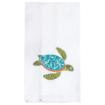 Eiland tijd Teal Blue Sea Turtle wafel Weave keuken schotelhanddoek geborduurd