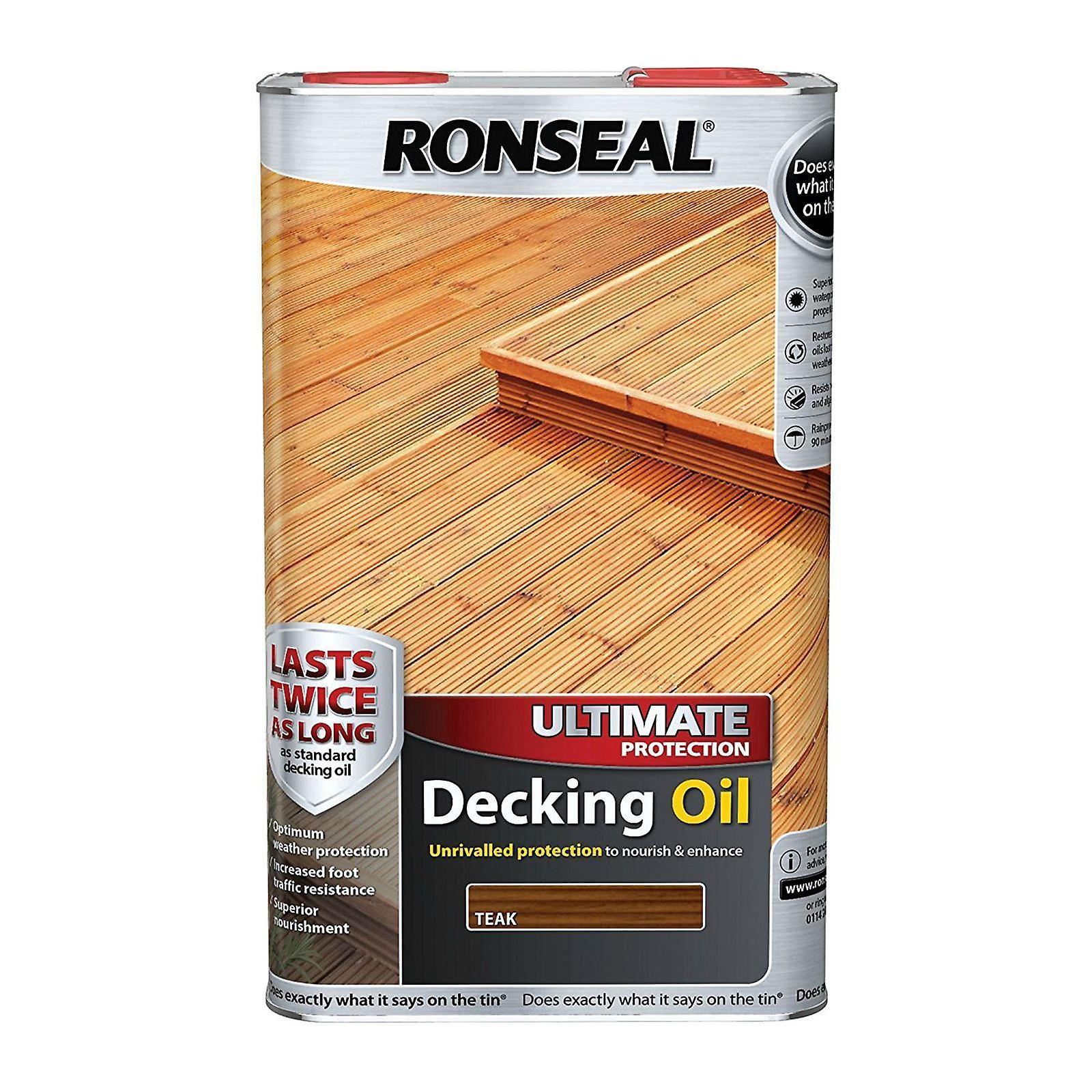 Ronseal último protección cubierta de aceite 5 litros - teca