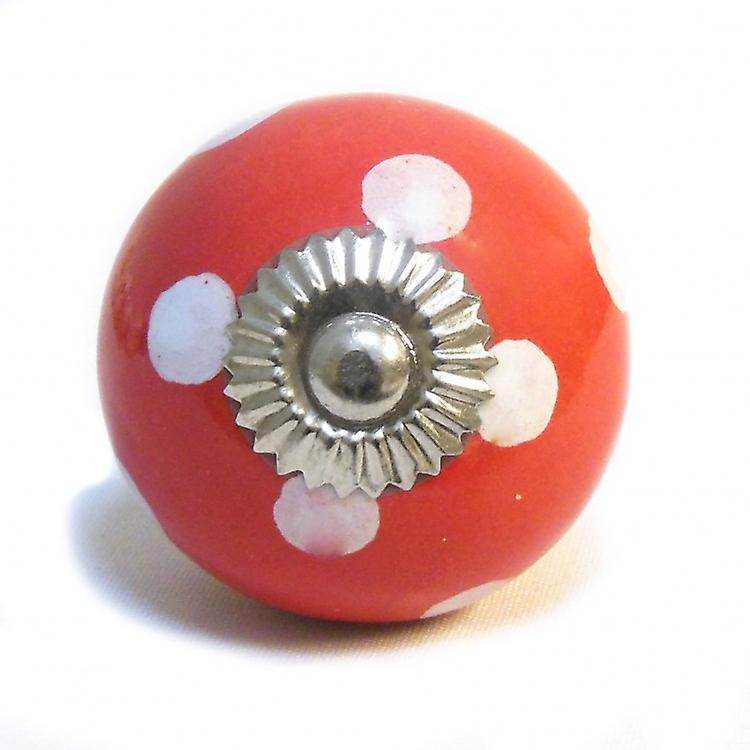 Red / White Spots Ceramic Cupboard Knob