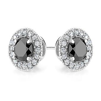 Black Diamond and Created Synthetic White Topaz Halo Stud Earrings 1.45 Carat (ctw) in Sterling Silver