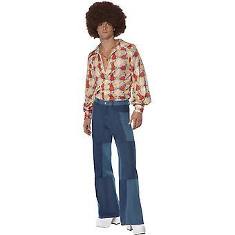 på 1970-tallet retro costume skjorte og lappeteppe denim bukser