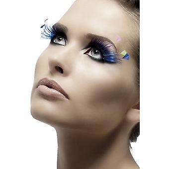 Øjenvipper kunstige øjenvipper blå med fjer