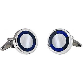 David Van Hagen Circle Mother of Pearl and Onyx Cufflinks - Silver/Blue/White