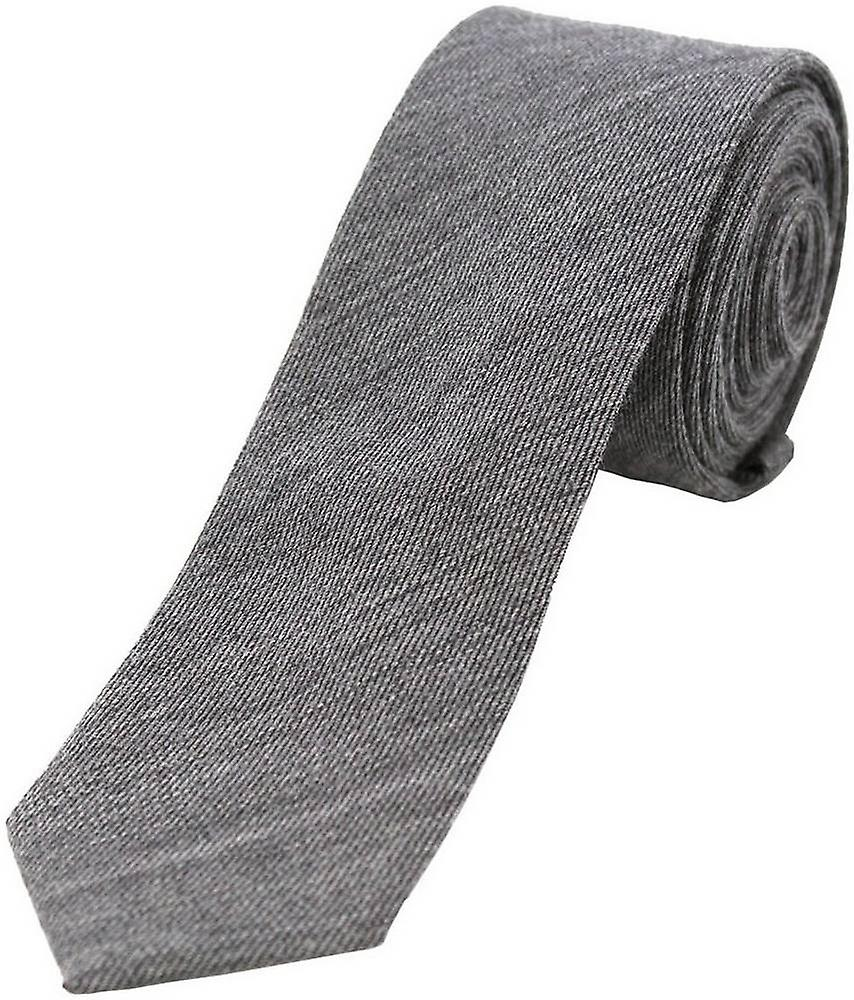 David Van Hagen Plain Wool Rich Thin Tie - Grey