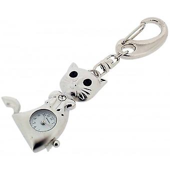 Gift Time Products Cat Clock Key Ring - Silver