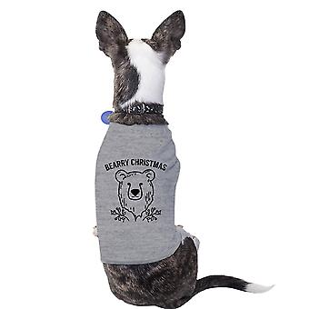 Bearry Christmas Bear Grey Pet Shirt For Small Pet Holiday Outfit