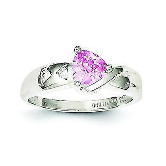 Sterlingsølv poleret åben tilbage Pink billioner Cubic Zirconia Ring - ringstørrelse: 6-8