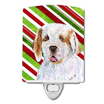 Clumber Spaniel Candy Cane Holiday Christmas Ceramic Night Light