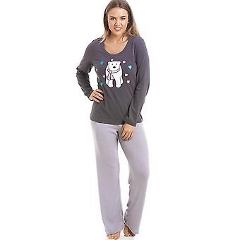 Camille Grey And White Striped Full Length Polar Bear Motif Pyjama Set