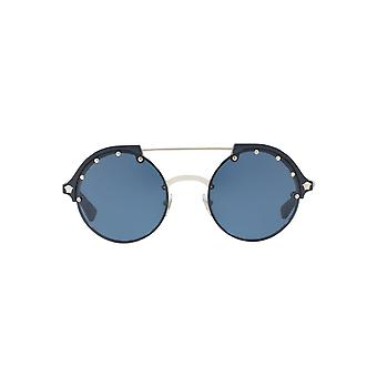 Versace Frenergy Round Sunglasses In Silver Blue