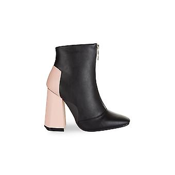 Truffle Collection Black Zip Boot With Pink Heel