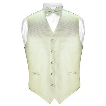 Men's Dress Vest & BOWTie Woven BOW Tie Horizontal Stripe Set