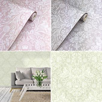 Holden Decor Harlen Wallpaper Trees Flowers Hedgehogs Leaves Rabbits Damask