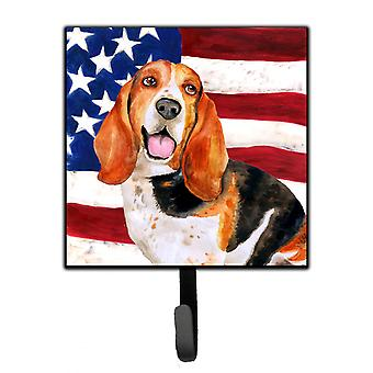 Carolines Treasures  BB9704SH4 Basset Hound Patriotic Leash or Key Holder