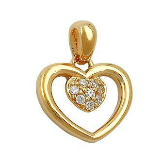 Pendant heart in heart zirconia 3 micron gold-plated