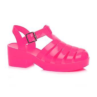 Ajvani meisjes medio blok hiel gladiator rubber gelei gladiator uitgesneden 90 's retro sandalen