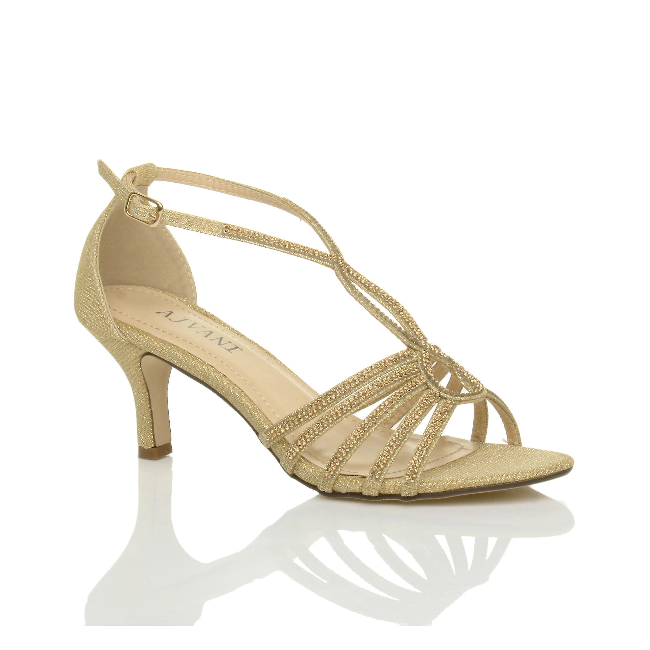 Ajvani Womens Mitte Ferse Riemchen Diamante Glitzer Hochzeit Braut Abend Schlepplift Sandalen Schuhe