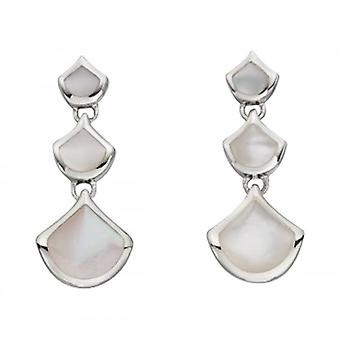 Elements Silver Mother of Pearl Inlay Triple Drop Earrings - Silver/White