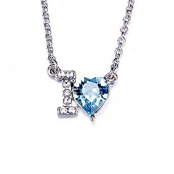 Serce miłość naszyjnik Swarovski Elements Crystal Blue