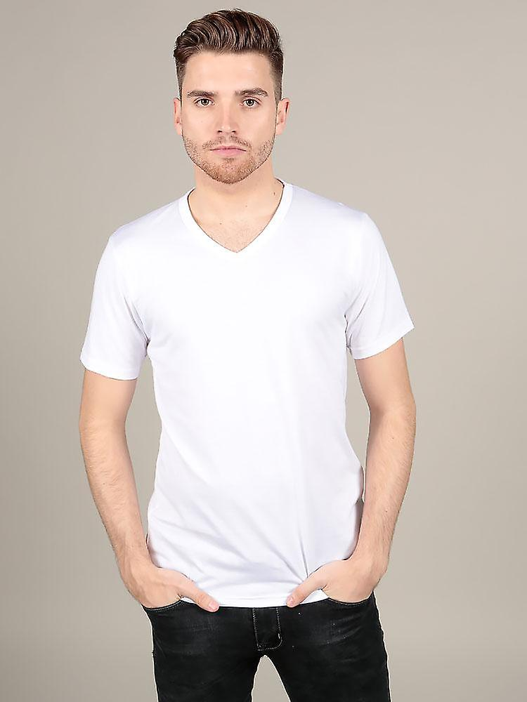 Short Sleeve V Neck - White