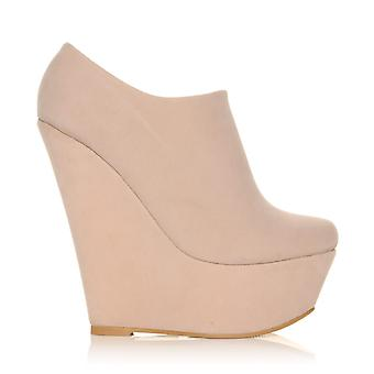 TINA Nude Faux Suede Wedge Very High Heel Platform Ankle Shoe Boots