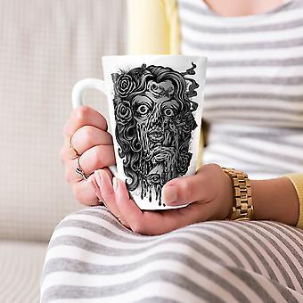 Twarz Mystic czaszki przerażający Nowa Biała herbata kawa Latte ceramiczny kubek 17 oz   Wellcoda