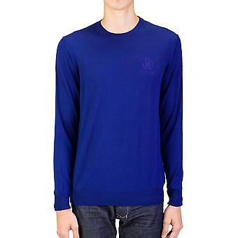 Roberto Cavalli mäns besättningen hals ull tröja blå