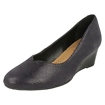 Ladies Van Dal Wedge Heel Shoes Hanover - Midnight Reptile Leather - UK Size 4EE - EU Size 37 - US Size 6