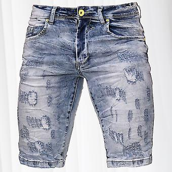 Men's Jeans Shorts Bermuda Neon Seam Stretch Capri Pants Denim Trousers Summer