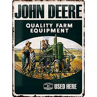 John Deere Quality Farm Equipment Used Here Embossed Steel Sign (300Mm X 400Mm)